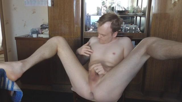 Fuck myself gay ass with huge dildo, riding and cumming