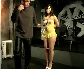 Black haired tied up slut whipped hard by master