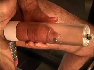Mature man enjoys cock and ball sexual punishment