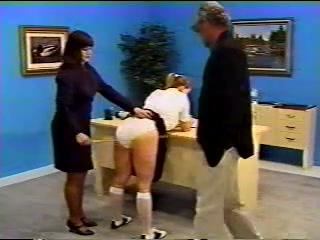 Classic schoolgirl caning