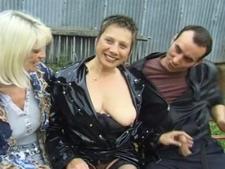 Threesome with two hot mature babes and one young man