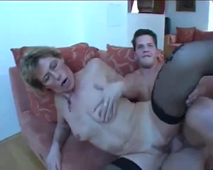 Horny granny uses a young boys cock for her pleasure